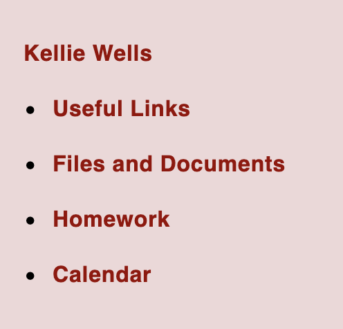 Useful links, files and document, homework and calendar